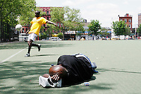 Players practice for the United States Homeless World Cup team in New York City on May 18, 2005.