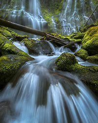 Up close to the Proxy Falls, one of the most impressive waterfalls in the Cascade Range, Oregon.