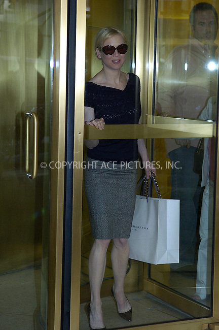 WWW.ACEPIXS.COM . . . . .  ....NEW YORK, MAY 31, 2005....Renee Zellweger takes her leave from an appearance on Live with Regis and Kelly. Her black SUV then heads to the midtown showroom of Carolina Herrera. She disappears shortly and returns with a nice bag from Carolina Herrera. On the way to her SUV she receives some attention from sailors in town for fleet week. Another SUV ride and she heads to lunch at Shun Lee. ....Please byline: Ian Wingfield - ACE PICTURES..... *** ***..Ace Pictures, Inc:  ..Craig Ashby (212) 243-8787..e-mail: picturedesk@acepixs.com..web: http://www.acepixs.com