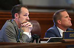 Nevada Sens. Justin Jones, D-Las Vegas, and Mark Hutchison, R-Las Vegas, watch votes tally on Jones' bill proposing univeral background checks on gun sales at the Legislative Building in Carson City, Nev., on Wednesday, May 22, 2013. <br /> Photo by Cathleen Allison