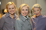 Hillary Clinton backstage with Alison Pill, Glenda Jackson from the cast of 'Edward Albee's Three Tall Women' at the John Golden Theatre on June 5, 2018 in New York City.