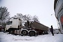 29/01/15<br /> <br /> A jack-knifed lorry in Buxton.<br /> <br /> Heavy snowfall results in multiple accidents, stranded vehicles and traffic chaos as the wintery weather does its best to shut down theDerbyshire Peak District town of Buxton.<br /> <br /> All Rights Reserved - F Stop Press.  www.fstoppress.com. Tel: +44 (0)1335 418629 +44(0)7765 242650