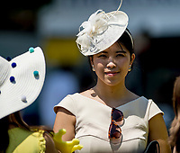 ELMONT, NY - JUNE 09: A woman wears a stylish hat on Belmont Stakes Day at Belmont Park on June 9, 2018 in Elmont, New York. (Photo by Eric Patterson/Eclipse Sportswire/Getty Images)