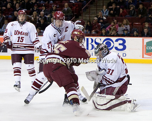 Brian Keane (UMass - 15), Justin Braun (UMass - 27), Matt Price (BC - 25), Paul Dainton (UMass - 31) - The Boston College Eagles defeated the University of Massachusetts Minutemen 7-1 on Friday, February 5, 2010, at the Mullins Center in Amherst, Massachusetts.