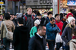 Foreign visitors gather at Akihabara district on January 20, 2016, Tokyo, Japan. The Japan National Tourism Organization reported on Tuesday 19th a record increase in foreign visitors in 2015. Approximately 19.73 million people visited Japan from abroad, up 47.3 percent. According to the report there were more Chinese visitors than from any other nation with 4.99 million coming in 2015. South Korea (4 million) and Taiwan (3.67 million) were next on the list, and over 1 million Americans also visited Japan in 2015. The number of visitors is the highest in 45 years and already close to Japan's goal of attracting 20 million foreign visitors in a year by 2020. (Photo by Rodrigo Reyes Marin/AFLO)