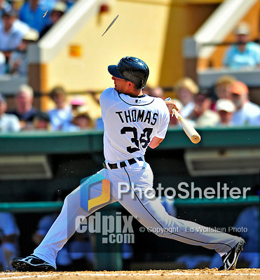 11 March 2009: Detroit Tigers' outfielder Clete Thomas in action during a Spring Training game against the New York Yankees at Joker Marchant Stadium in Lakeland, Florida. The Tigers defeated the Yankees 7-4 in the Grapefruit League matchup. Mandatory Photo Credit: Ed Wolfstein Photo