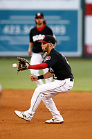 Chattanooga Lookouts second baseman Alex Perez (2) fields a ground ball during the game against the Montgomery Biscuits on May 25, 2018 at AT&T Field in Chattanooga, Tennessee. (Andy Mitchell/Four Seam Images)