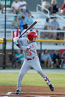 Greeneville Reds third baseman Jonathan India (3) at bat during a game against the Burlington Royals at the Burlington Athletic Complex on July 7, 2018 in Burlington, North Carolina. The game was India's first game as a professional baseball player. Burlington defeated Greeneville 2-1. (Robert Gurganus/Four Seam Images)
