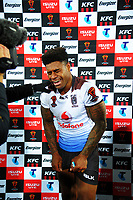 Fiji captain Kevin Naiqama is overcome with emotion after winning the 2017 Rugby League World Cup quarterfinal match between New Zealand Kiwis and Fiji at Wellington Regional Stadium in Wellington, New Zealand on Saturday, 18 November 2017. Photo: Dave Lintott / lintottphoto.co.nz