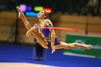 Anna Gurbanova competing for Azerbaijan split leaps with rope at Berlin Grand Prix Finale at Berlin, Germany on Octoberl 21, 2006.<br />