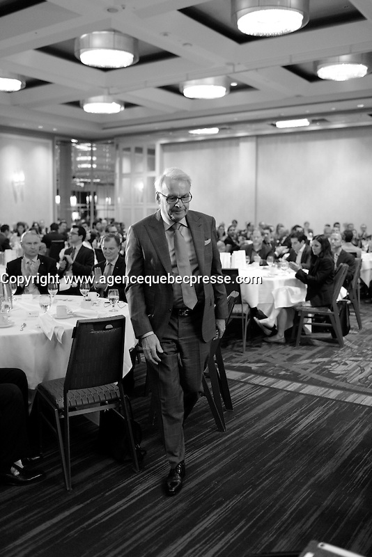 montreal, canada, May 4, 2015.<br /> <br /> Alain Bouchard<br /> deliver a speech to the Canadian Club of Montreal.<br /> <br /> Photo : Pierre Roussel - Agence Quebec Presse