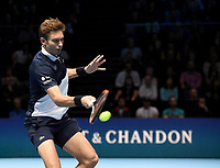 Nicolas Mahut in action against Oliver Marach and Mate Pavic<br /> <br /> Photographer Hannah Fountain/CameraSport<br /> <br /> International Tennis - Nitto ATP World Tour Finals Day 2 - O2 Arena - London - Monday 12th November 2018<br /> <br /> World Copyright &copy; 2018 CameraSport. All rights reserved. 43 Linden Ave. Countesthorpe. Leicester. England. LE8 5PG - Tel: +44 (0) 116 277 4147 - admin@camerasport.com - www.camerasport.com