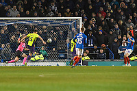 John Marquis of Portsmouth right scores the third goal to win the game in added time during Portsmouth vs Exeter City, Leasing.com Trophy Football at Fratton Park on 18th February 2020