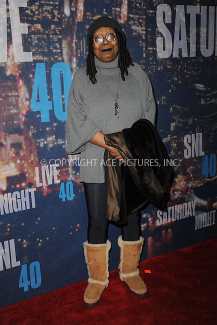 WWW.ACEPIXS.COM<br /> February 15, 2015 New York City<br /> <br /> <br /> Whoopi Goldberg walking the red carpet at the SNL 40th Anniversary Special at 30 Rockefeller Plaza on February 15, 2015 in New York City.<br /> <br /> Please byline: Kristin Callahan/AcePictures<br /> <br /> ACEPIXS.COM<br /> <br /> Tel: (646) 769 0430<br /> e-mail: info@acepixs.com<br /> web: http://www.acepixs.com