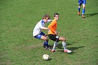 "VOETBAL: BALK: Voetbalcomplex ""de Wilgen"", 27-04-2013, KNVB 1ste Klasse E district Noord, VV Balk -VV Drachtster Boys, Einduitslag 1-2, Ivar Klijnsma (#2 | Balk), Aziz Geyik (#18 | DB), ©foto Martin de Jong"