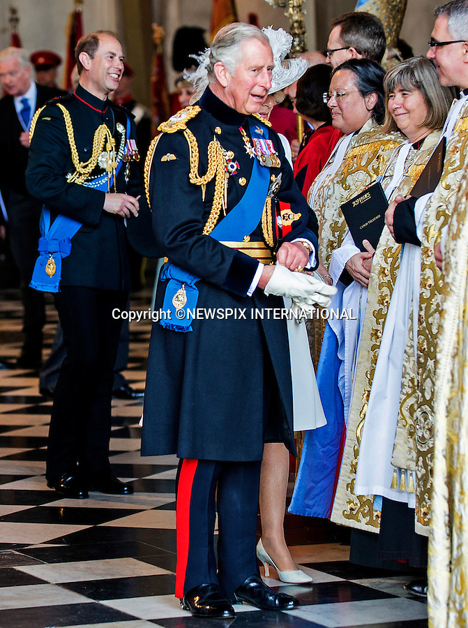 18.06.2015; London, UK: PRINCE CHARLES, CAMILLA AND PRINCE AND EDWARD<br />attended a service of commemoration at St Paul&rsquo;s Cathedral to mark the 200th Anniversary of the Battle of Waterloo. <br />Mandatory Credit Photo: &copy;MoD/NEWSPIX INTERNATIONAL<br /><br />(Failure to credit will incur a surcharge of 100% of reproduction fees)<br />IMMEDIATE CONFIRMATION OF USAGE REQUIRED:<br />Newspix International, 31 Chinnery Hill, Bishop's Stortford, ENGLAND CM23 3PS<br />Tel:+441279 324672  ; Fax: +441279656877<br />Mobile:  07775681153<br />e-mail: info@newspixinternational.co.uk<br />**ALL FEES PAYABLE TO: &quot;NEWSPIX  INTERNATIONAL&quot;**