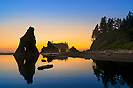 Olympic National Park, Washington:<br /> Ruby Beach - sunseet afterglow with silhouetted seastacks and pool reflections