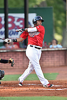 Elizabethton Twins designated hitter Amaurys Minier (24) swings at a pitch during a game against the Bristol Pirates at Joe O'Brien Field on July 30, 2016 in Elizabethton, Tennessee. The Twins defeated the Pirates 6-3. (Tony Farlow/Four Seam Images)