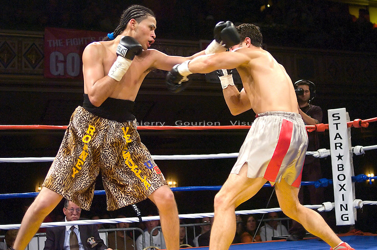 New York, NY, 10.18.2007: Ronney Vargas lands on  Paul Scianna  during their 4 round Middleweight fight at the Hammerstein Ballroom. Vargas won by tko in the second round.