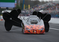 Mar 18, 2016; Gainesville, FL, USA; NHRA top alcohol funny car driver Joshua Haskett during qualifying for the Gatornationals at Auto Plus Raceway at Gainesville. Mandatory Credit: Mark J. Rebilas-USA TODAY Sports