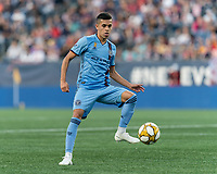 FOXBOROUGH, MA - SEPTEMBER 29: Jesus Medina #19 of New York City FC collects a pass during a game between New York City FC and New England Revolution at Gillette Stadium on September 29, 2019 in Foxborough, Massachusetts.