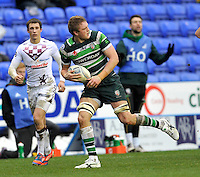 READING, ENGLAND : Jamie Gibson of London Irish during the Amlin Challenge Cup match between London Irish and Bordeaux-Begles at Madejski Stadium on January 18, 2013 in Reading, England.