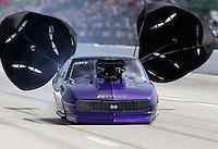 Apr. 26, 2013; Baytown, TX, USA: NHRA pro mod driver Von Smith during qualifying for the Spring Nationals at Royal Purple Raceway. Mandatory Credit: Mark J. Rebilas-