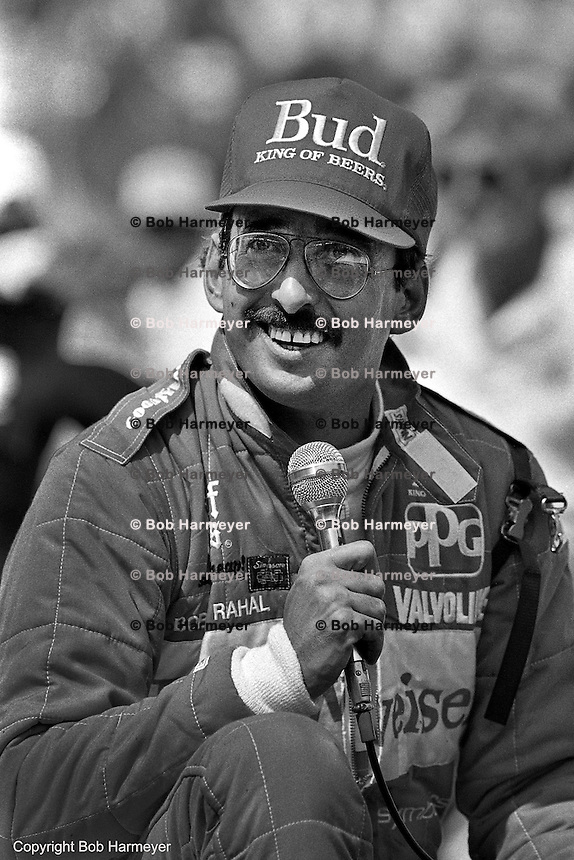 INDIANAPOLIS, IN - MAY 31: Bobby Rahal addresses the crowd after winning the Indianapolis 500 on May 31, 1986, at the Indianapolis Motor Speedway in Indianapolis, Indiana.