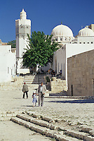 Tunisia, Le Kef.  Boumakhlouf Mosque, Minaret, Man and Boy.