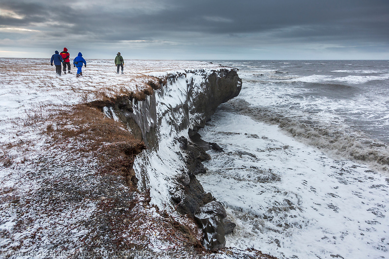 Coastal erosion along the cliff shoreline of Barter Island, arctic Alaska.