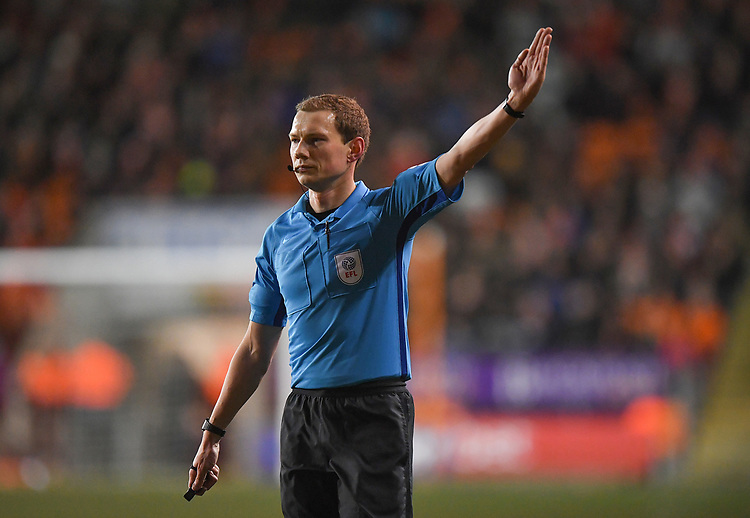 Referee Peter Wright<br /> <br /> Photographer Dave Howarth/CameraSport<br /> <br /> The EFL Sky Bet League One - Blackpool v Doncaster Rovers - Tuesday 12th March 2019 - Bloomfield Road - Blackpool<br /> <br /> World Copyright © 2019 CameraSport. All rights reserved. 43 Linden Ave. Countesthorpe. Leicester. England. LE8 5PG - Tel: +44 (0) 116 277 4147 - admin@camerasport.com - www.camerasport.com