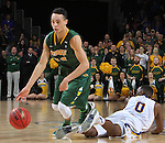 SIOUX FALLS, SD - MARCH 8:  Khy Kabellis #13 of North Dakota State gets past a fallen Deondre Parks #0 of South Dakota State  during the 2016 Summit League Championship Game Tuesday at the Denny Sanford Premier Center in Sioux Falls, S.D. (Photo by Dick Carlson/Inertia)