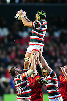 Graham Kitchener of Leicester Tigers wins the ball at a lineout. European Rugby Champions Cup match, between Leicester Tigers and Munster Rugby on December 17, 2016 at Welford Road in Leicester, England. Photo by: Patrick Khachfe / JMP