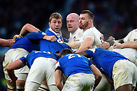 Pierre Bourgarit of France and Dan Cole and Luke Cowan-Dickie of England look on at a scrum. Guinness Six Nations match between England and France on February 10, 2019 at Twickenham Stadium in London, England. Photo by: Patrick Khachfe / Onside Images