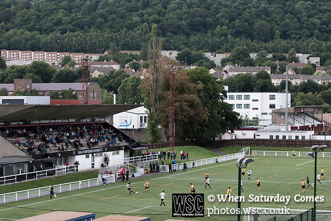 Gala Fairydean Rovers 3 Edinburgh City 3, 13/08/2013. Netherdale, Scottish Lowland Football League. Gala Fairydean Rovers in action during their first home match in the Scottish Lowland Football League against Edinburgh City at Netherdale in Galashiels, with the Gala rugby ground in the background. Gala were formed in 2013 by an a re-amalgamation of Gala Fairydean and Gala Rovers, the two clubs having separated in 1908 and their ground in the Scottish Borders had one of only two stands designated as listed football stands in Scotland. The match ended in a 3-3 draw watched by 378 spectators. Photo by Colin McPherson.