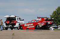 May 20, 2016; Topeka, KS, USA; The car of NHRA funny car driver Cruz Pedregon is towed to the starting line during qualifying for the Kansas Nationals at Heartland Park Topeka. Mandatory Credit: Mark J. Rebilas-USA TODAY Sports