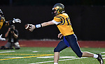 Althoff quarterback Will Ache (right) hands off the ball. Mater Dei played football at Althoff on Friday September 13, 2019. <br /> Tim Vizer/Special to STLhighschoolsports.com