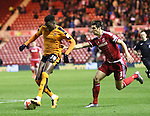 Dominic Lorfa of Wolverhampton Wanderers stopping George Friend of Middlesbrough from getting to the ball - Sky Bet Championship - Middlesbrough vs Wolverhampton Wanderers - Riverside Stadium - Middlesbrough - England - 4th of March 2016 - Picture Jamie Tyerman/Sportimage