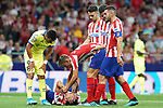 Stefan Savic injured (d) in presence of Atletico de Madrid's Marcos Llorente, Mario Hermoso, Jose Maria Gimenez and Koke Resurreccion and Getafe CF's Angel Rodriguez during La Liga match. August 18,2019. (ALTERPHOTOS/Acero)