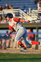 Lowell Spinners second baseman Deiner Lopez (5) at bat during a game against the Batavia Muckdogs on July 16, 2014 at Dwyer Stadium in Batavia, New York.  Lowell defeated Batavia 6-4.  (Mike Janes/Four Seam Images)