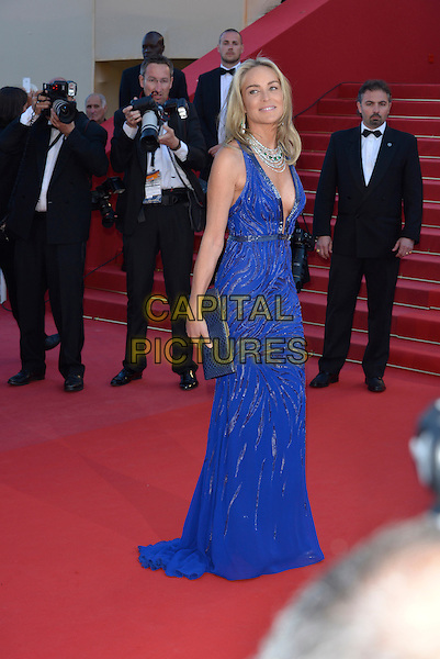 Sharon Stone.'Cleopatra' premiere at the 66th  Cannes Film Festival, France..21st May 2013.full length blue lace dress plunging neckline cleavage  silver necklace clutch bag  side .CAP/PL.©Phil Loftus/Capital Pictures.