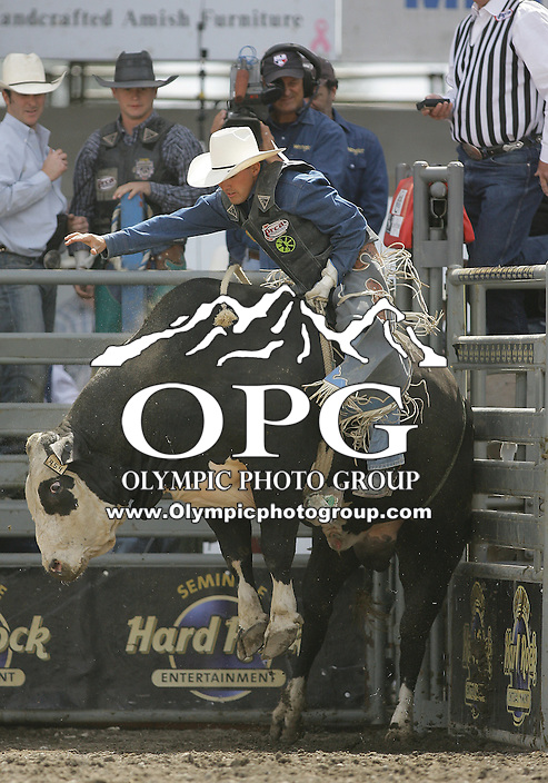 29 Aug 2010: Zed Landham scored a 85.5 during the first round of the Seminole Hard Rock Extreme Bulls competition at the Kitsap County Stampede in Bremerton, Washington.