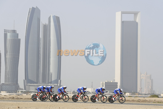 Groupama-FDJ motor along during Stage 1 of the 2019 UAE Tour, a team time trial running 16km around Al Hudayriat Island, Abu Dhabi, United Arab Emirates. 24th February 2019.<br /> Picture: LaPresse/Fabio Ferrari | Cyclefile<br /> <br /> <br /> All photos usage must carry mandatory copyright credit (© Cyclefile | LaPresse/Fabio Ferrari)