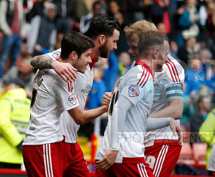 Goalscorer Ryan Flynn of Sheffield Utd in congratulated during the Sky Bet League One match at The Bramall Lane Stadium.  Photo credit should read: Simon Bellis/Sportimage
