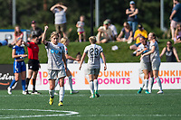 Boston, MA - Saturday June 24, 2017: Mccall Zerboni and NC Courage celebrate a goal during a regular season National Women's Soccer League (NWSL) match between the Boston Breakers and the North Carolina Courage at Jordan Field.