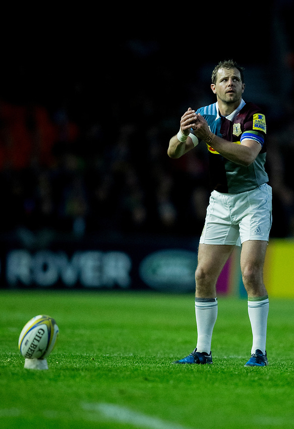 Harlequins' Nick Evans <br /> <br /> Photographer Bob Bradford/CameraSport<br /> <br /> Aviva Premiership - Harlequins v Wasps - Friday April 28 2017 - The Stoop - London<br /> <br /> World Copyright &copy; 2017 CameraSport. All rights reserved. 43 Linden Ave. Countesthorpe. Leicester. England. LE8 5PG - Tel: +44 (0) 116 277 4147 - admin@camerasport.com - www.camerasport.com