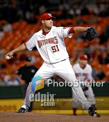 16 May 2007: Washington Nationals pitcher Jon Rauch on the mound against the Atlanta Braves at RFK Stadium in Washington, DC. The Nationals rallied to defeat the Braves 6-4 to take a 2-1 lead in their four-game series...Mandatory Photo Credit: Ed Wolfstein Photo