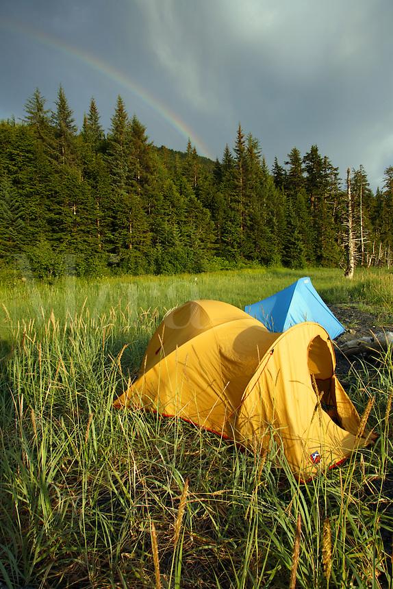 Camping on the beach, Barry Arm, Prince William Sound, Chugach National Forest, Alaska.
