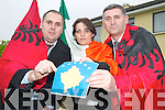 CELEBRATIONS: Members of the Kosovan community living in Tralee were celebrating Kosovo's new independant state this week. From l-r were: Agron Kastrati, Sherife Kastrati and Nazmi Neziri.   Copyright Kerry's Eye 2008