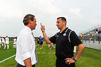 FC Kansas City head coach Vlatko Andonovski talks with Sky Blue FC head coach Jim Gabarra prior to the start of the match. Sky Blue FC and FC Kansas City played to a 2-2 tie during a National Women's Soccer League (NWSL) match at Yurcak Field in Piscataway, NJ, on June 26, 2013.